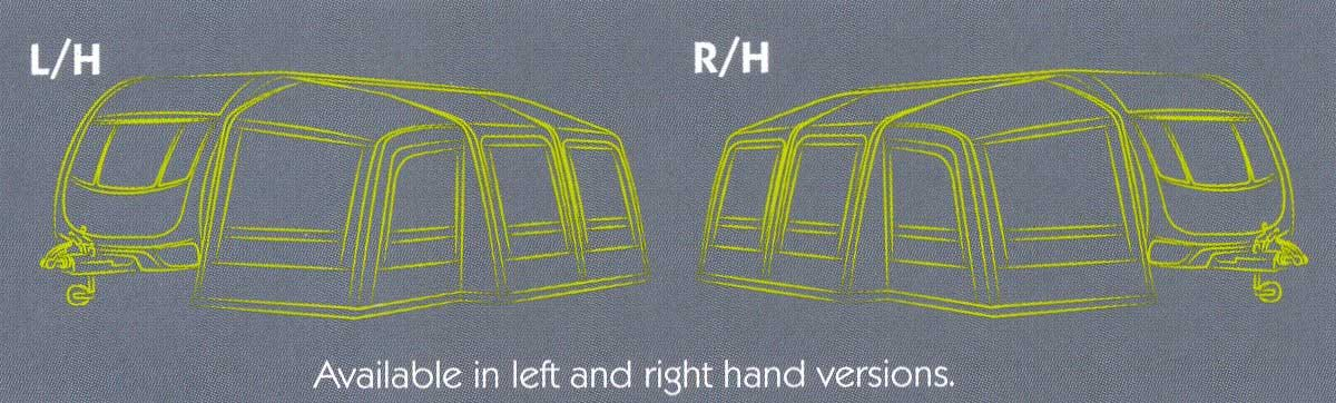 Kampa Rally Air Plus Pro 260 Left Hand & Right Hand Illustration