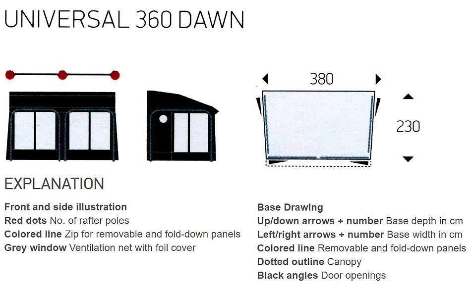 Isabella Universal Dawn 360 Technical Illustrations