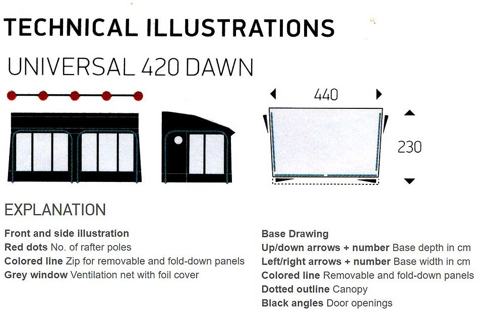 Isabella Universal Dawn 420 Technical Illustrations