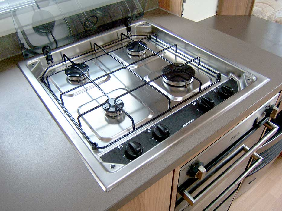 The Thetford hob with 4 gas burners.