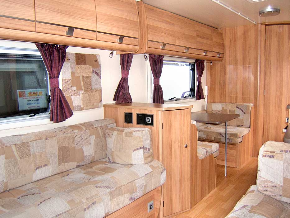 A general view looking through the caravan from the front lounge area.