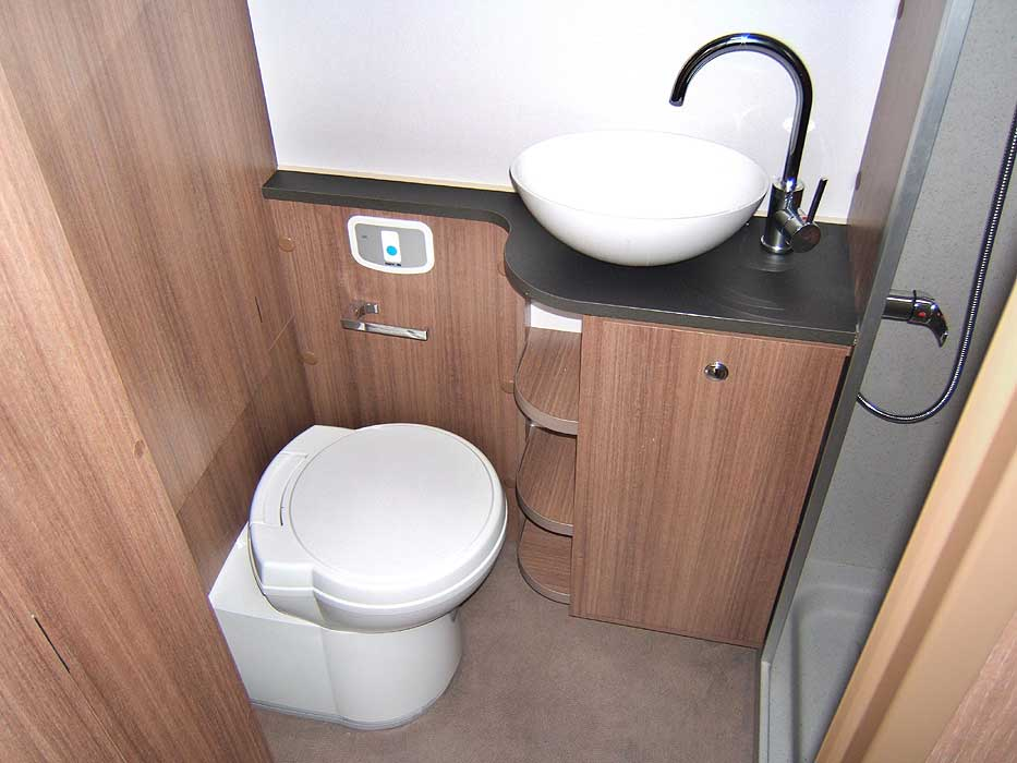 The cassette toilet and washbasin in the rear washroom.
