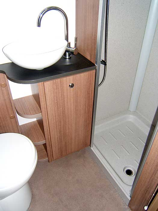 The washbasin and shower cubicle.