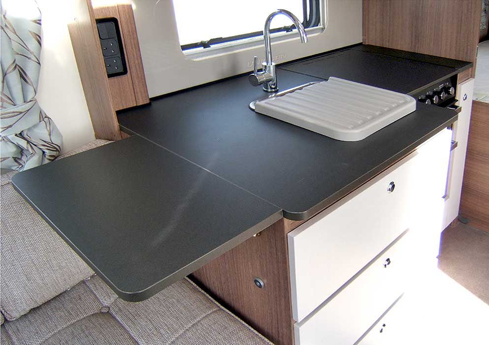 The kitchen has a handy worktop extension flap which can be utilised when preparing meals.